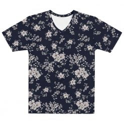 Men's All-Over Black/Dark Navy Floral Printed T-shirt