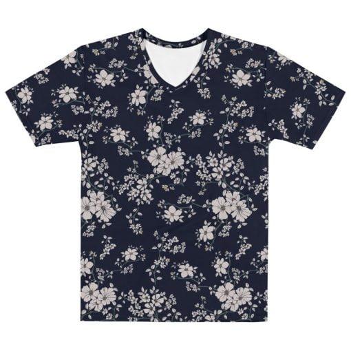 Men's All-Over Black/Dark Navy Floral Printed T-shirt