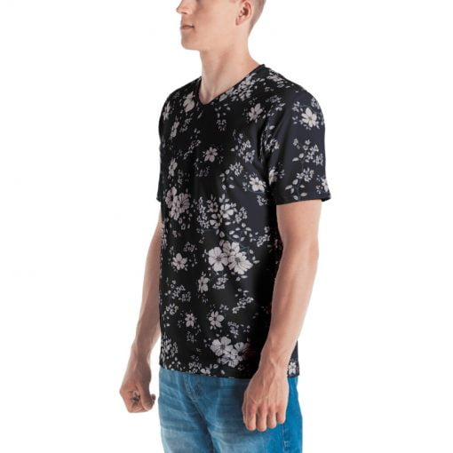 Men's All-Over Dark Navy Floral Printed T-shirt